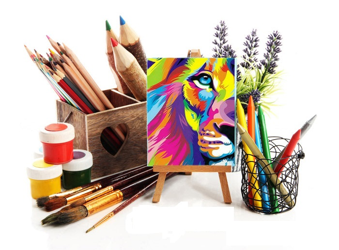 Pencils in wooden crate, paints, brushes and easel, isolated on